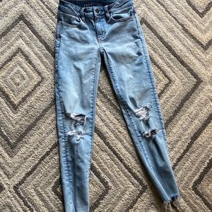 american eagle blue ripped jeans new size 0